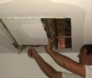 ceiling plumbing leak