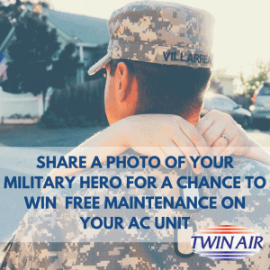 Twin Air Military Hero Contest Cover Picture with Soldier being Hugged