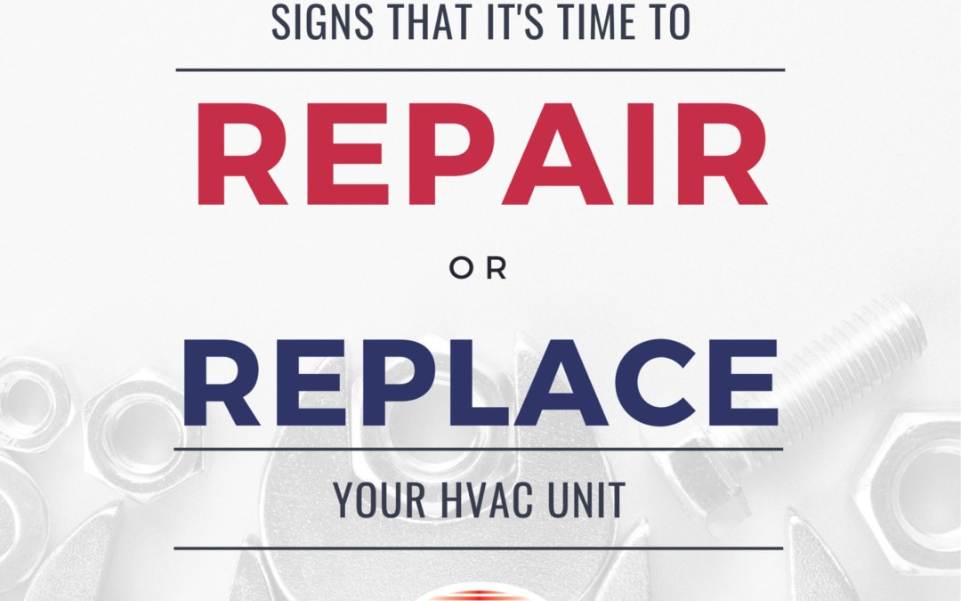 Image of wrenches with text: signs that it's time to repair or replace your HVAC unit